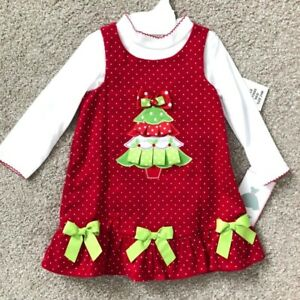 Rare Editions NWT Infant Baby Toddler Girl Christmas Dress 18m 24m Holiday