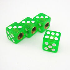 4 Pcs Car Truck SUV Clear Green Dice Style Wheel Tire Valve Stem Dust Cap Covers