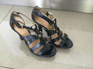 Naturalizer Size 8 W Black Leather High Heels 9cm heel N5 comfort