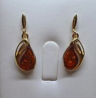 Zoria's Baltic Amber Earrings-Cognac Colour-925 Sterling Silver-14K Gold Plated