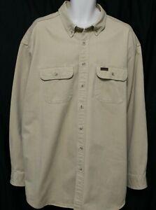 Carhartt tan LS heavy duty LS leather patch on pocket work shirt men's 3XLT