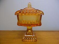Vintage Pink/Orange Amberina Glass Wedding Box Covered Dish lid Compote Bowl