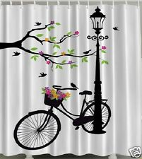 Vintage Bicycle Fabric SHOWER CURTAIN Bike Flowers Tree Birds Lamp Post Light