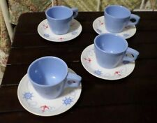 Boontonware Nautical Set Of Four Cups And Saucers
