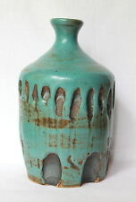 Turquoise Blue Green Brown Organic Artisan Studio Art Pottery Vase Signed JQ