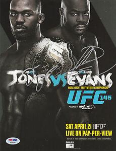 JON BONES JONES SIGNED AUTO'D MINI POSTER PSA/DNA UFC 145 VS RASHAD EVANS CHAMP