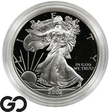 2002-W American Eagle Silver Dollar, Deep Cameo PROOF, 1 OZ Fine, Box & CoA