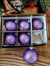 Vidrio pintado a mano 6 Bolas Árbol De Navidad Decoración 80 mm/8cm, de alta calidad!