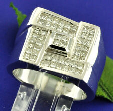 3.00 ct Mens Natural Diamond Ring VS2 F 18k White Gold Hugh Heavy Princess Cut