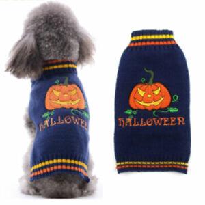 Halloween Autumn Winter Warm Pumpkin Knit Jumper Pet Dog Cat Sweater Coat Outfit