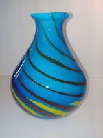 "Murano? hand blown art glass vase aqua blue with candy swirls heavy 9"" Tall."