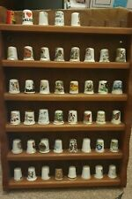 More details for joblot of approx 95 thimbles fine bone china, pewter, wooden, pot etc + display