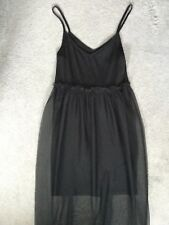 BLACK SLEEVELESS DRESS WITH NET SKIRT STARTING FROM UNDER BUST  - UK 4 BNWT
