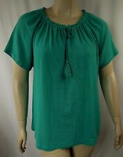 BeMe Teal Crinkle Cotton Short Sleeve Peasant Top Tunic Plus Size 16 BNWOT # N17