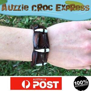 Australian Crocodile LeatherWristband/Braceletw/ 4REALCrocodile Teeth Brown