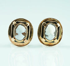 Unikat Achat Stein Kamee um 1840 antike Kameen Ohrringe Gold Klassizismus Gemme