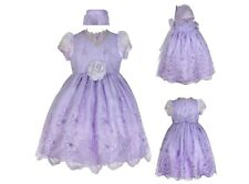 Baby Toddler Girl Pageant Wedding Formal Party Flower Lavender Lilac Dress 0-36M