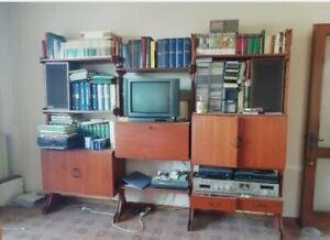 Mid Century Danish Vintage Teak & brass modular WALL Unit bookcase 1960s