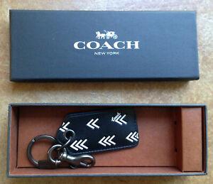 New Coach Men's Leather Bottle Opener Key Ring Keychain, Black