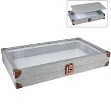GREY LINEN GLASS TOP WOODEN CASE JEWELRY BOX DISPLAY CASE w/FLAT LINER SHOWCASE