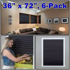 6 Pack Window Sun Shade Pleated Pull Down Cordless Blackout Uv Light Movie Room