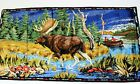 Vintage P&C Italian Woven Velvet Moose Tapestry Wall Hanging Size 38in x 19in