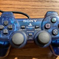 Sony PlayStation 2 PS2 Ocean Blue Clear Wired Controller DualShock OEM Official