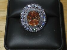 8.25ct Simulated Morganite w/ White Sapphires Ring Sterling Silver 925 Size 9.5