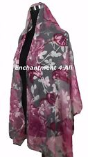 New Stunning 100% Pure Silk Floral Sheer Scarf Wrap, Pink/Gray