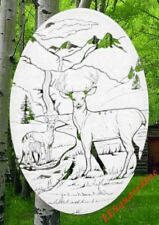 Deer Static Cling Window Decal OVAL 10x16 Country Etched Look Glass Door Decor