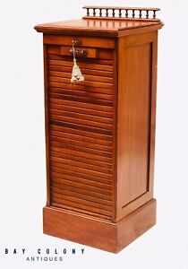 19TH C ANTIQUE VICTORIAN WALNUT TAMBOUR FILE CABINET ~ JEWELRY CABINET