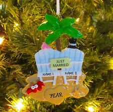 Just Married Beach Wedding 1st Personalized Christmas Wedding Ornament