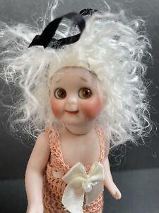 """Miniature 5"""" Kestner JDK 221 (?) Porcelain Artist Reproduction Googly Eye Doll"""
