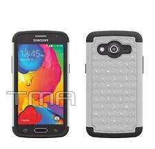 Samsung Galaxy Core LTE SM-G386W Heavy Duty Layer Hybrid Case - White Bling