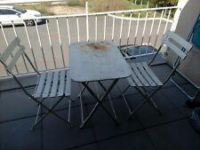 Ancien salon de jardin pliant table chaises fer et bois