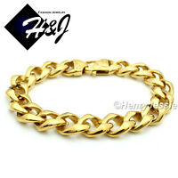 "8.5""MEN's Stainless Steel HEAVY WIDE 13x5mm Gold Cuban Curb Chain Bracelet*B136"