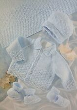 Baby's Blanket, Cardigan/Jacket, Hat, Bootees and Mitts Knitting Pattern MC038