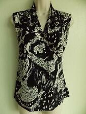 EASYWEAR by CHICOS Faux Cross Over SLEEVELESS black off-white BLOUSE TOP size 1