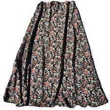 JUST JEANS Womens  Maxi Skirt Size 10 A-line Black Floral Print Boho
