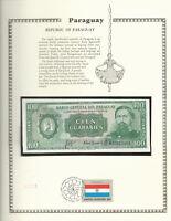 Paraguay 1952 (1982) P 205a.1 100 Guaranies UNC w/FDI UN FLAG STAMP Prefix A
