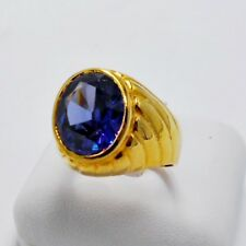 MEN RING BLUE SAPPHIRE 24K YELLOW GOLD FILLED GP SOLITAIRE SUN PATTERN SIZE 9