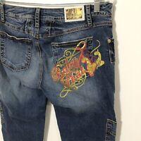 Baby Phat Capri Jeans SIZE 13 Cargo BLING POCKET Logo CAT Whiskering Cropped