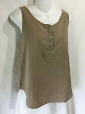 Krazy Kat Simple Brown Textured Cotton Pullover Lagenlook Tunic Tank Top Shirt M