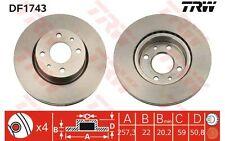 TRW Juego de 2 discos freno 257mm 257,5mm ventilado FIAT CROMA ALFA ROMEO DF1743