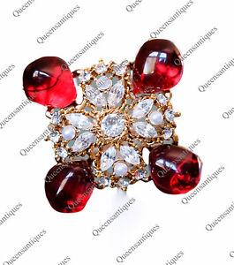 "Kenneth Jay Lane KJL Brilliant Emerald Cabochon/Crystals Pin-Pendant 3.5""Marked"