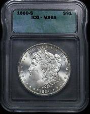 1880-S Morgan Silver Dollar ICG MS-65 Gem White Surfaces