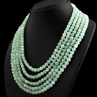 756.00 CTS NATURAL 5 STRAND RICH GREEN AQUAMARINE ROUND SHAPE BEADS NECKLACE