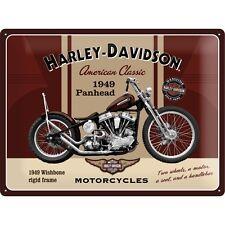 HARLEY Davidson Panhead grandi in rilievo vintage retrò in metallo tin sign garage 30x40