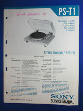 SONY PS-T1 TURNTABLE SERVICE MANUAL FACTORY ORIGINAL