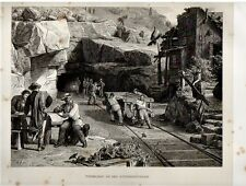 Stampa antica TUNNEL San GOTTARDO in costruzione 1876 Old Print Switzerland